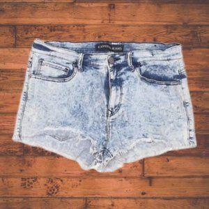 EXPRESS Acid Wash Frayed Denim Cut Off Shorts - 12